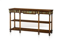 A Pollard Burl and Turquoise Stone Inlaid Console Table - Burl & Turquoise Stone
