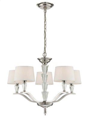 5-lite Chandelier, Chrome/white Fabric Shade, E12 G 40wx5