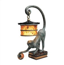 VERDIGRIS BRONZE PATINA MONKEY LAMP, LEATHER BOOK DESIGN BAS E, PENSHELL SHADE