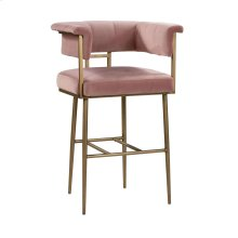 Astrid Blush Velvet Bar Stool