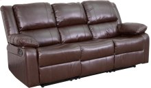 Harmony Series Brown Leather Sofa with Two Built-In Recliners