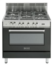 "Matte Black 36"" Dual Fuel Convection Range with Single Oven"