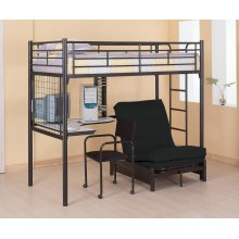 Contemporary Metal Loft Bunk Bed With Desk