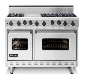 "Burgundy 48"" Open Burner Self-Cleaning Range - VGSC (48"" wide range with six burners, 12"" wide char-grill, double ovens)"