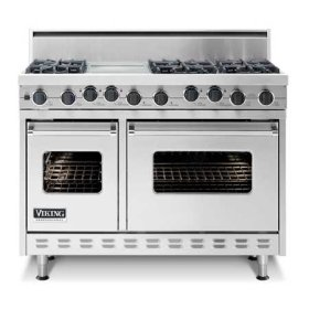 "Apple Red 48"" Open Burner Self-Cleaning Range - VGSC (48"" wide range with six burners, 12"" wide char-grill, double ovens)"