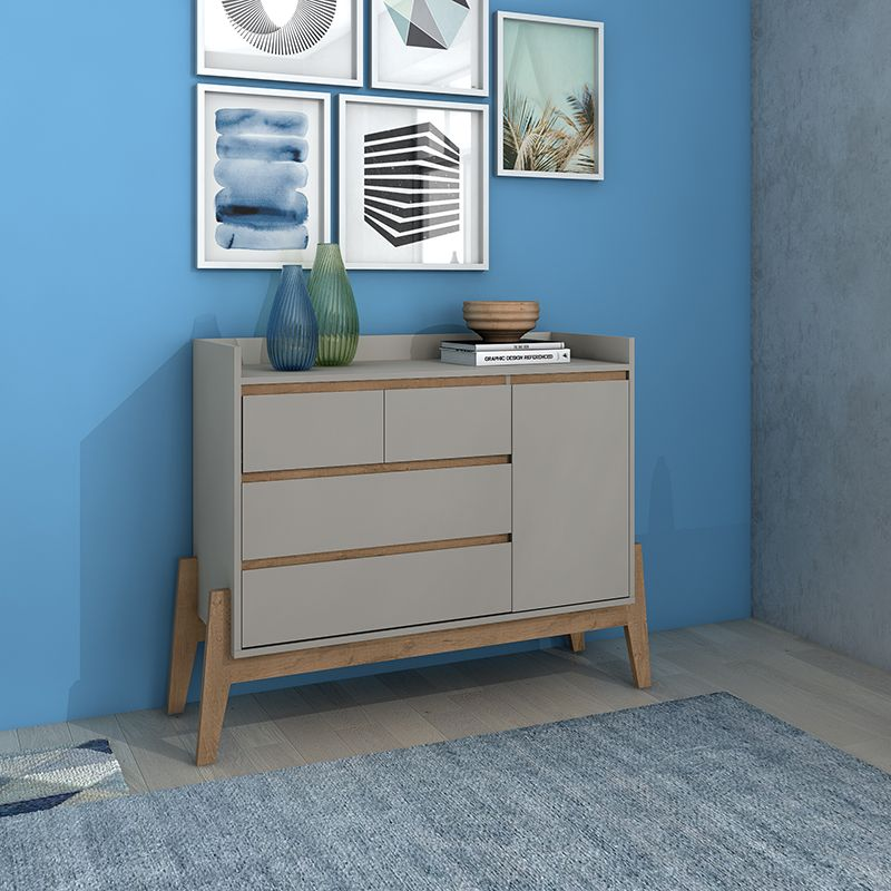 """Essence 49"""" Wide Dresser with 4 Full Extension Drawers and Table Top in Grey"""