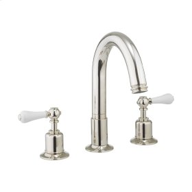 Belgravia White Lever Deck Mount 3 Hole Tub Faucet - Polished Nickel