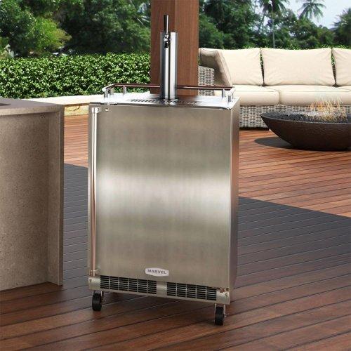"24"" Outdoor Single Tap Mobile Beer Dispenser - Marvel Refrigeration - Solid Stainless Steel Door With Lock - Solid Stainless Steel Door With Lock, Right Hinge"