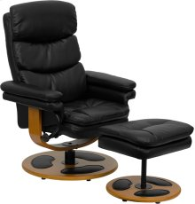 Contemporary Multi-Position Recliner and Ottoman with Wood Base in Black Leather