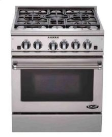 "Brushed Stainless Steel 30"" Prof. Dual Fuel Range"
