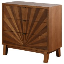 Hayden  34in X 16in X 33in  3 Drawer Starburst Chest Made of Walnut & Ash Wood Veneers Mdf & Wood