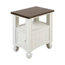 Nantucket Accent Table In Off-white With Brown-grey Top - Small