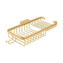 """Wire Basket 10-3/8"""", Rectangular Deep & Shallow, With Hook - PVD Polished Brass"""