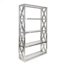 Stainless Crosshatch Etagere With Five Clear Glass Shelves. Product Image