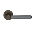 Tube Stitch Incombination Leather Door Lever In Slate Grey And Vintange Patina Product Image