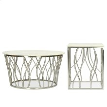 Round Coffee Table - Polished Steel Finish