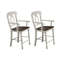 DLU-ADW-B50A-AW-2  Andrews Napoleon Barstool with Arms  Antique White with Chestnut Seat  Counter Height Stool  Set of 2