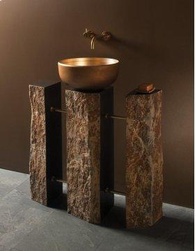 Triple Basalt Pedestal Brushed Brass