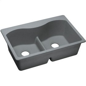 "Elkay Quartz Classic 33"" x 22"" x 9-1/2"", Equal Double Bowl Top Mount Sink with Aqua Divide, Greystone"