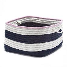 "Nautical Stripe Basket AU11 Navy Pink 14"" X 10"""