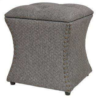 Amelia Nailhead Storage Ottoman, Gray Honeycomb