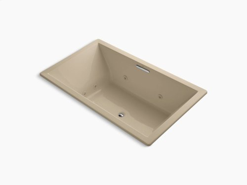"""Mexican Sand 72"""" X 42"""" Drop-in Whirlpool With Heater Without Jet Trim and With Center Drain"""