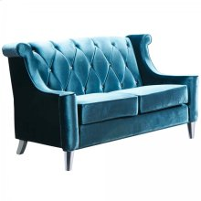 Barrister Loveseat In Blue Velvet With Crystal Buttons