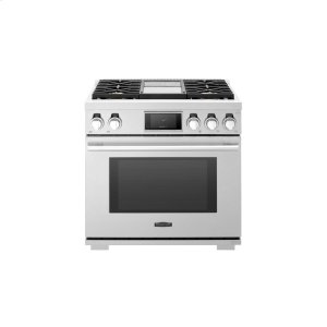 Signature Kitchen Suite36-inch Dual-Fuel Pro Range with Steam-Assist Oven and Griddle