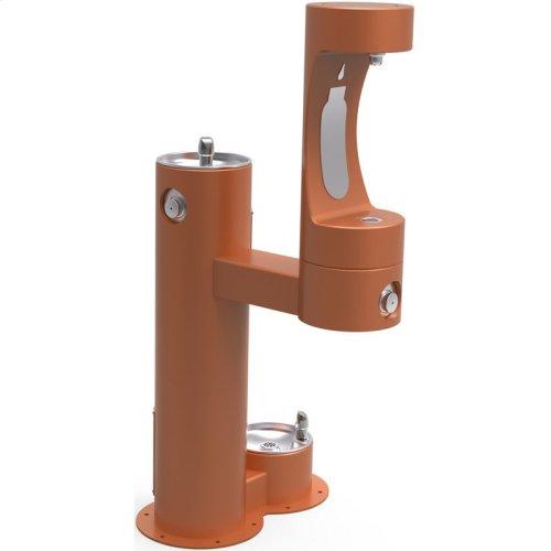 Elkay Outdoor ezH2O Bottle Filling Station, Bi-Level Pedestal with Pet Station NonFilter, NonRefrige FreezeResist Terracotta
