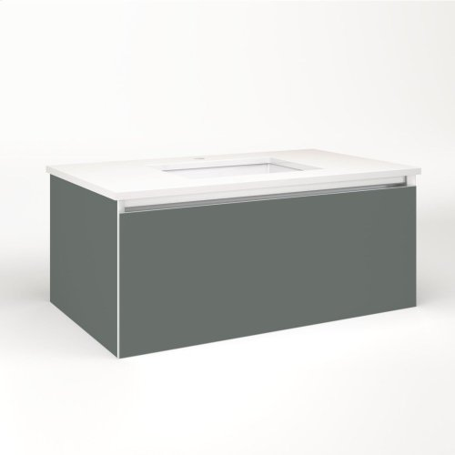 """Cartesian 36-1/8"""" X 15"""" X 21-3/4"""" Single Drawer Vanity In Matte Gray With Slow-close Full Drawer and Night Light In 5000k Temperature (cool Light)"""