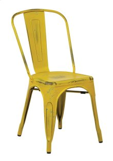 Bristow Armless Chair, Antique Yellow With Blue Specks Finish, 2pack