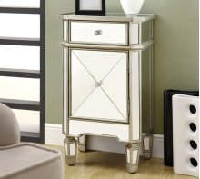 "ACCENT CHEST - 29""H / BRUSHED SILVER WITH MIRROR"