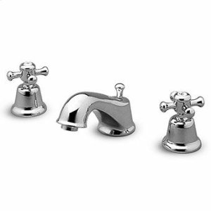 """3 hole basin mixer with aerator, 1 1/4"""" pop-up waste, flexible tails."""
