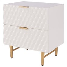 Reggie KD Geometric Side Table 2 Drawers Gold Legs, Glossy White