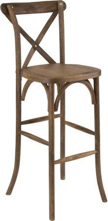Dark Antique Wood Cross Back Barstool