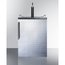 Built-in Residential Beer Dispenser, Auto Defrost With Digital Thermostat, Diamond Plate Door, Towel Bar Handle, and Black Cabinet