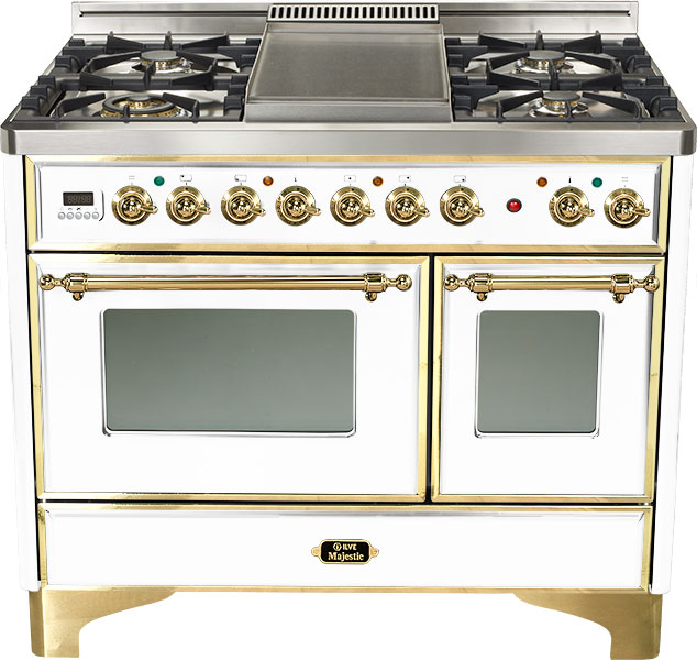 "True White 40"" French Top Majestic Techno Dual Fuel Range
