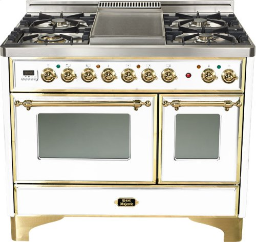 "True White 40"" French Top Majestic Techno Dual Fuel Range"
