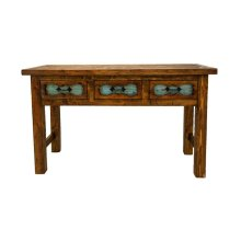 Turq Carved 3 Drawer Console