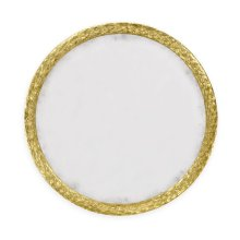 """Carved and Water Gilded Gold Leaf 48"""" Round Hanging Wall Mirror"""