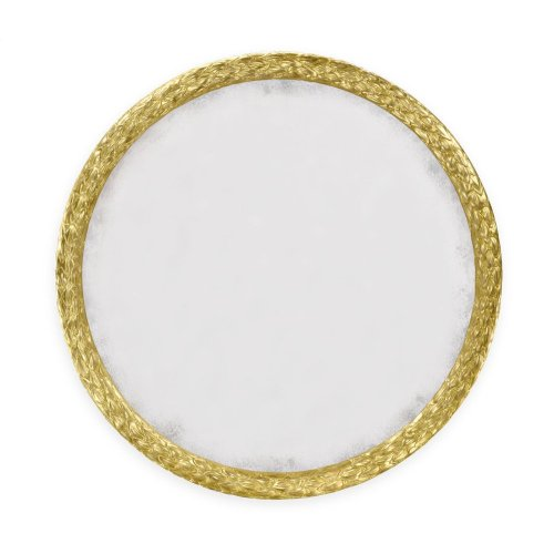 "Carved and Water Gilded Gold Leaf 48"" Round Hanging Wall Mirror"