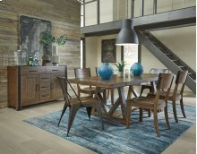 STANDARD 17126-17124-17125 Nelson Trestle Table With 18 Inch Leaf, 4 Side Chairs & 2 Metal End Chairs