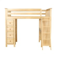 All in One Loft Bed Storage Study Natural