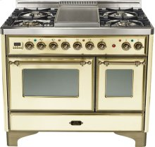 "Antique White 40"" French Top Majestic Techno Dual Fuel Range"