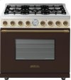Range DECO 36'' Classic Brown dual color, Bronze 6 gas, gas oven