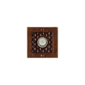 Square Designer Doorbell Button White Bronze Dark with Wood