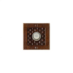 Square Designer Doorbell Button Silicon Bronze Brushed with Acorn Weave Leather