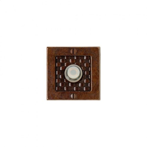 Square Designer Doorbell Button White Bronze Medium with Brown Tapestry Leather