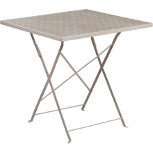 28'' Square Light Gray Indoor-Outdoor Steel Folding Patio Table