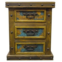 Nightstand with Turquoise Copper Panels